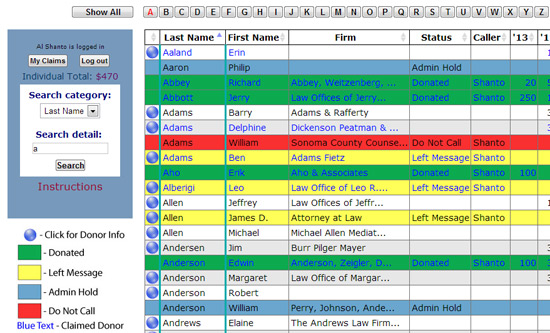 Database screen shot